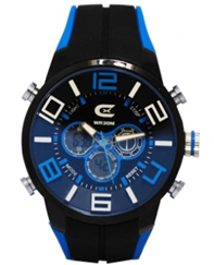 Men's Black & Blue Ana-Digi Chronograph Watch with  Coordinating Silicon Strap