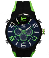 Men's Black & Green Ana-Digi Chronograph Watch with  Coordinating Silicon Strap