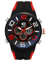 Men's Black & Red Ana-Digi Chronograph Watch with  Coordinating Silicon Strap