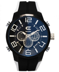 Men's Black & White Ana-Digi Chronograph Watch with  Coordinating Silicon Strap