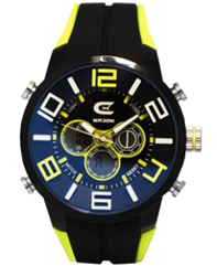 Men's Black & Yellow Ana-Digi Chronograph Watch with  Coordinating Silicon Strap
