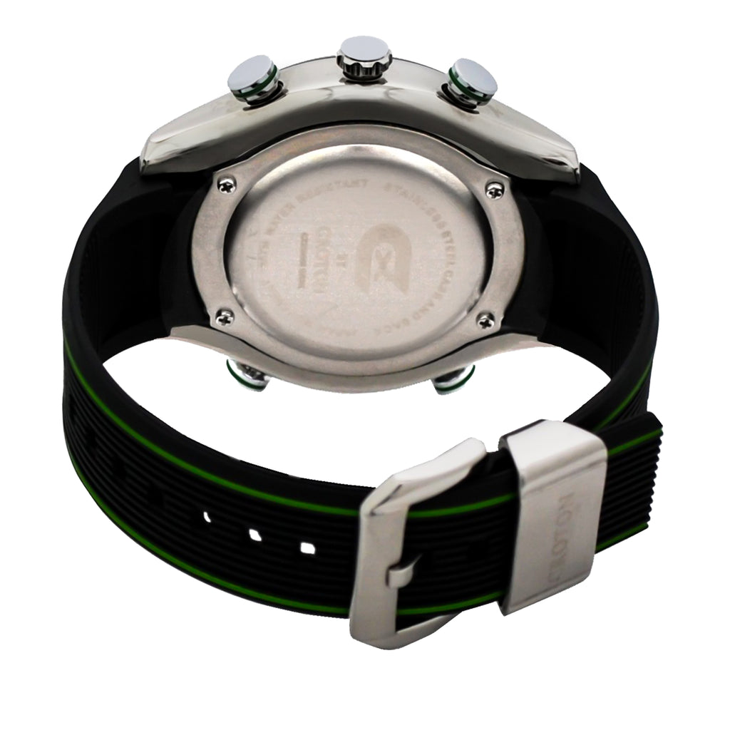 CX2 Men's Stainless Steel Ana-Digi Watch with Green Accents