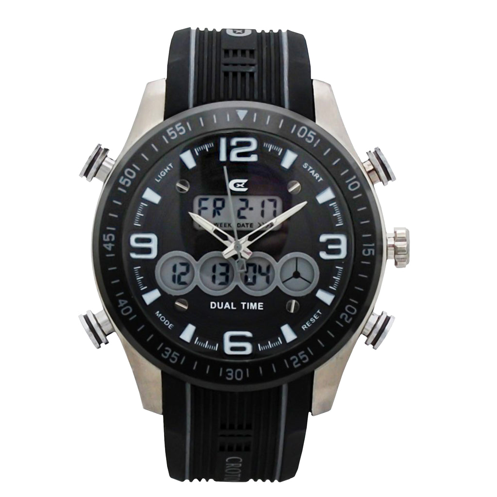 CX2 Men's Stainless Steel Ana-Digi Watch with Gray Accents