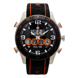 CX2 Men's Stainless Steel Ana-Digi Watch with Orange Accents