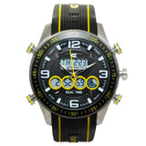 CX2 Men's Stainless Steel Ana-Digi Watch with Yellow Accents
