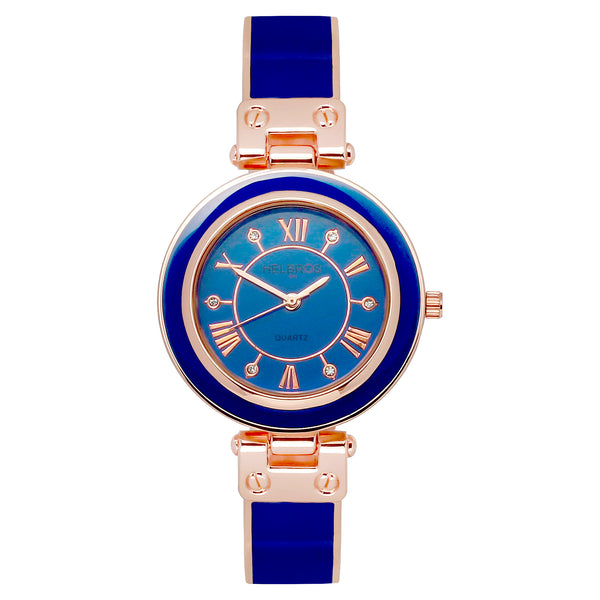 Ladies Quartz Blue Bangle Bracelet Watch with Rosetone Accents