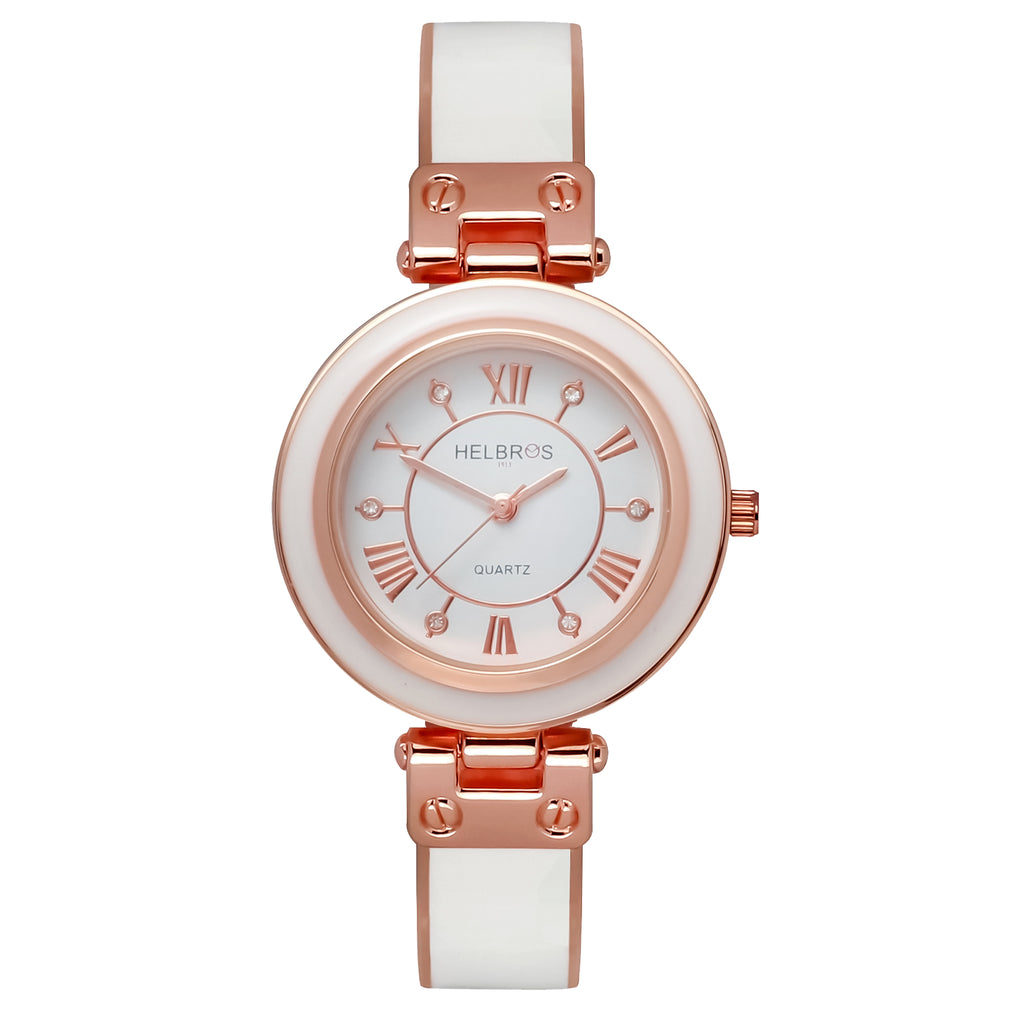 Ladies Quartz White Bangle Bracelet Watch with Rosetone Accents