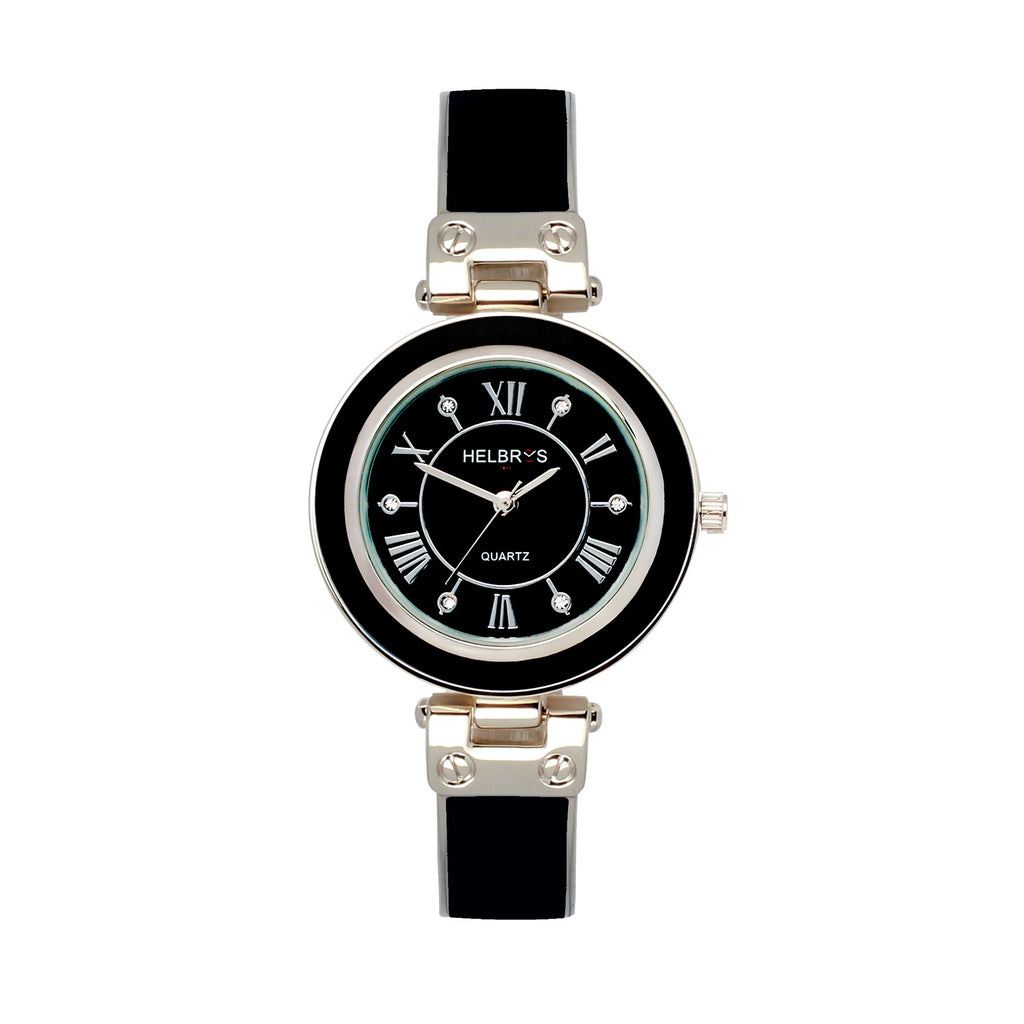 Ladies Quartz Black Bangle Bracelet Watch with Silvertone Accents - CROTON GROUP