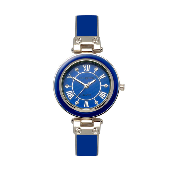 Ladies Quartz Blue Bangle Bracelet Watch with Silvertone Accents
