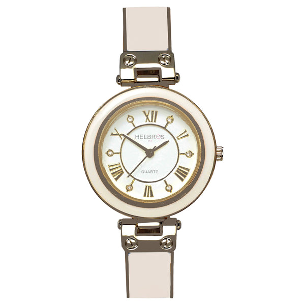 Ladies Quartz White Bangle Bracelet Watch with Silvertone Accents