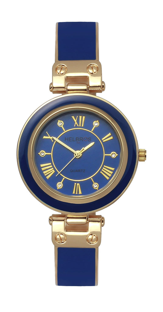 Ladies Quartz Blue Bangle Bracelet Watch with Goldtone Accents