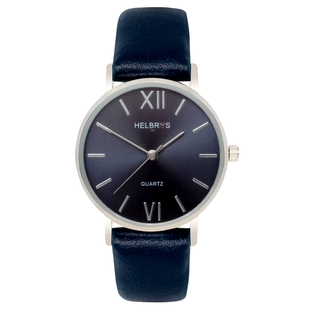 Ladies Quartz Watch with Navy Blue Metallic Dial and Navy Blue Strap