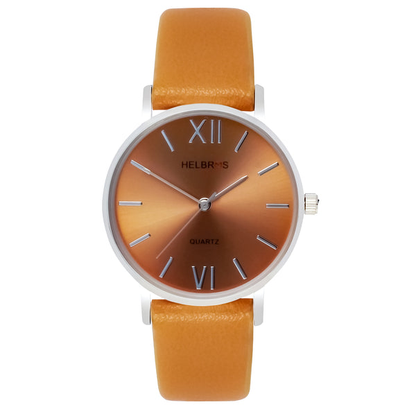 Ladies Quartz Watch with Brown Metallic Dial and Camel Strap