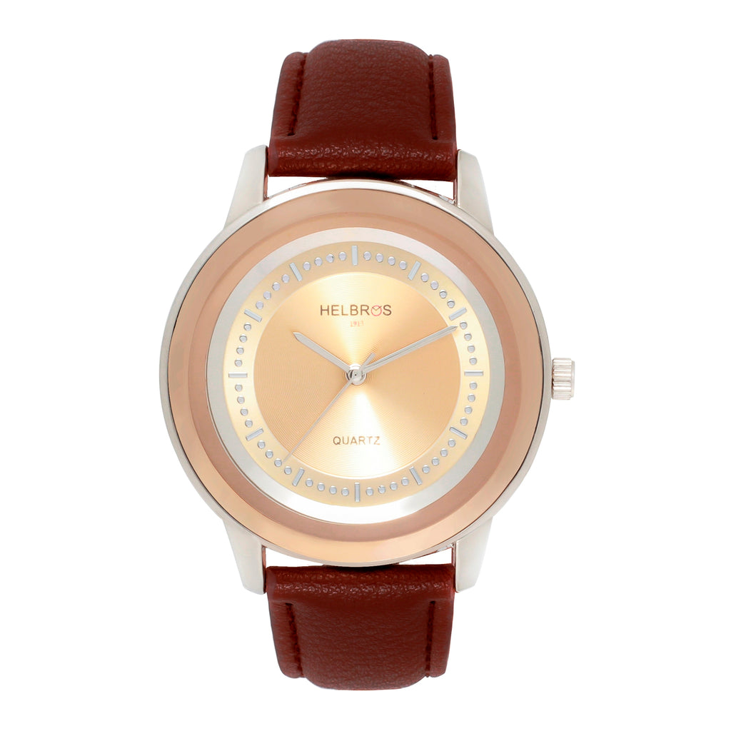 Ladies Quartz Watch With Honey Brown Sunray Dial and Brown Strap