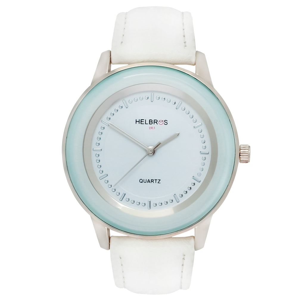 Ladies Quartz Watch with White Sunray Dial and White Strap