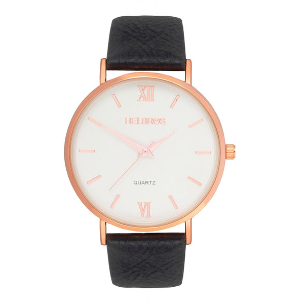 Ladies Rosetone Quartz Watch with White Dial and Black Strap