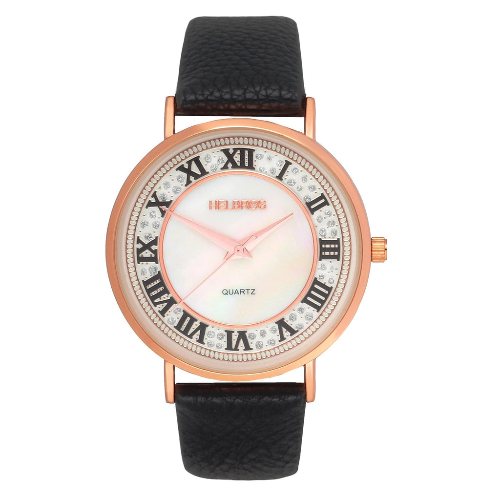Ladies Rosetone Quartz Watch with Mother of Pearl Dial and Black Strap