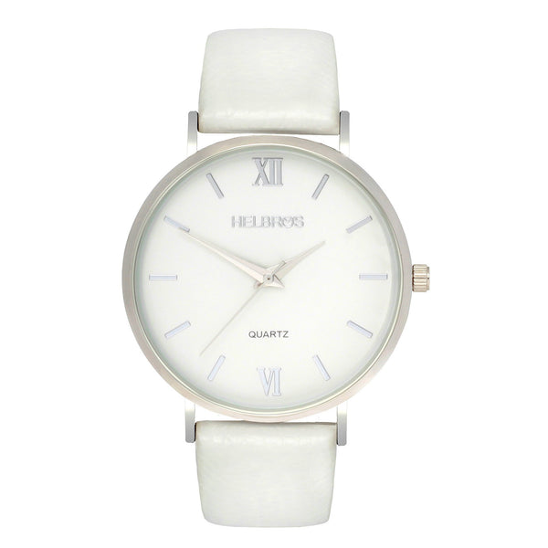 Ladies Silvertone Quartz Watch with White Dial and White Strap