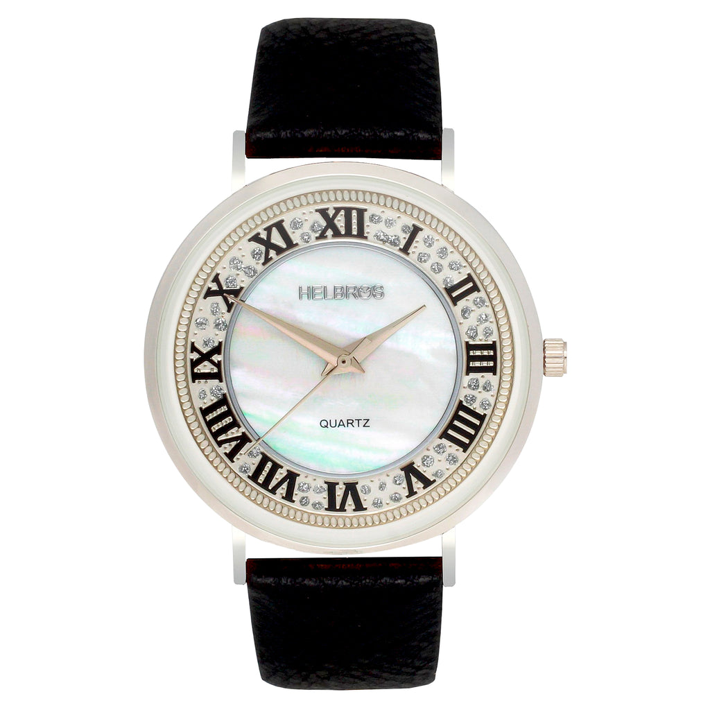 Ladies Silvertone Quartz Watch with Mother of Pearl Dial and Black Strap