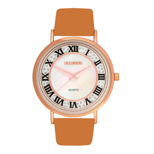 Ladies Rosetone Quartz Watch with White Dial and Tan Strap