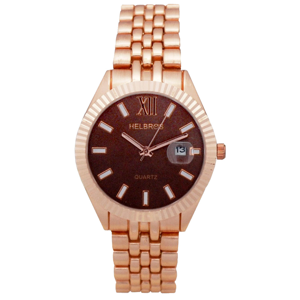 Ladies  Rosetone Quartz Watch with Metllic Brown Dial and Magnified Date - CROTON GROUP