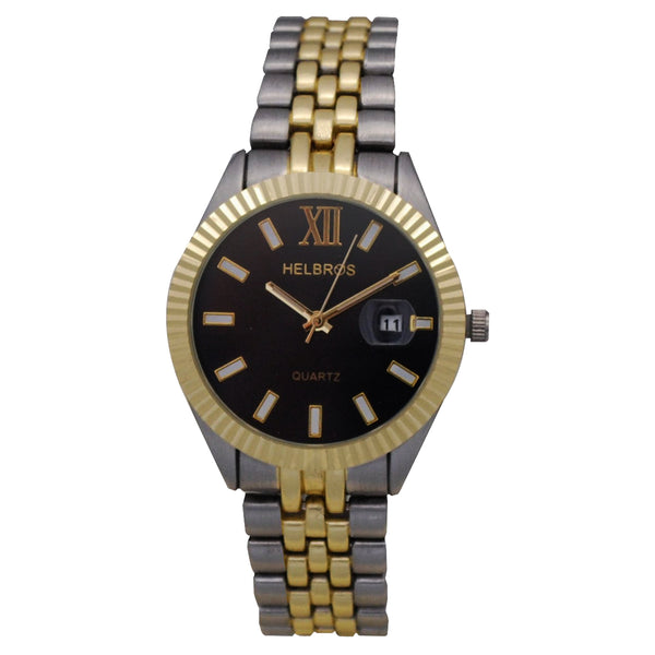 Ladies Two Tone Quartz Watch with Black Dial and Magnified Date