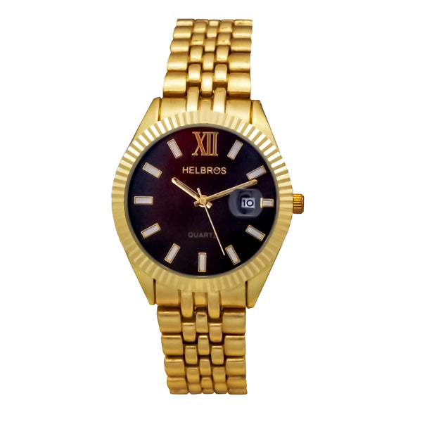Ladies Goldtone Quartz Watch with Black Dial and Magnified Date