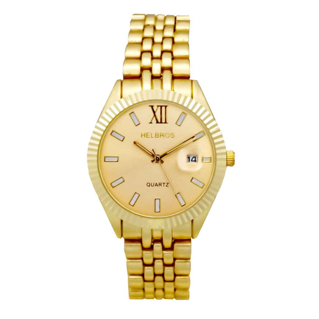 Ladies Goldtone Quartz  Watch with Goldtone Dial and Magnified Date - CROTON GROUP