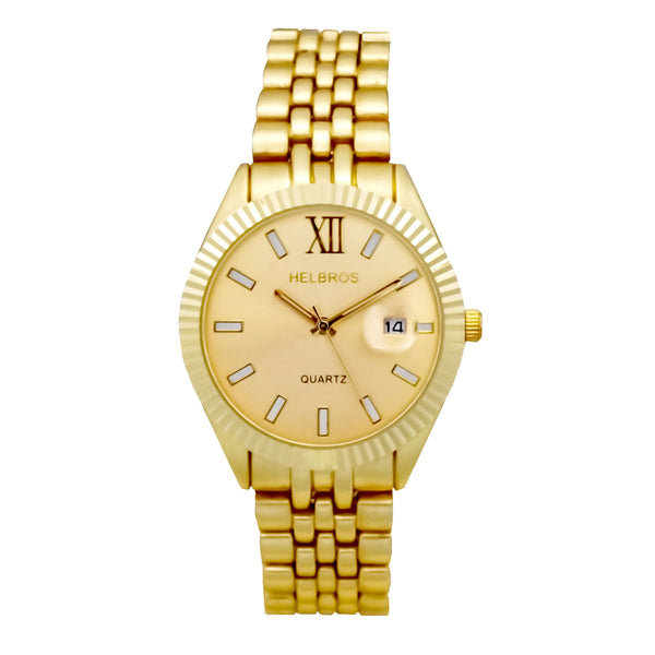 Ladies Goldtone Quartz  Watch with Goldtone Dial and Magnified Date