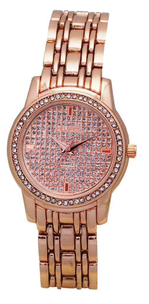 Ladies Rosetone Quartz Watch with Crystal Bezel and Glitter Dial