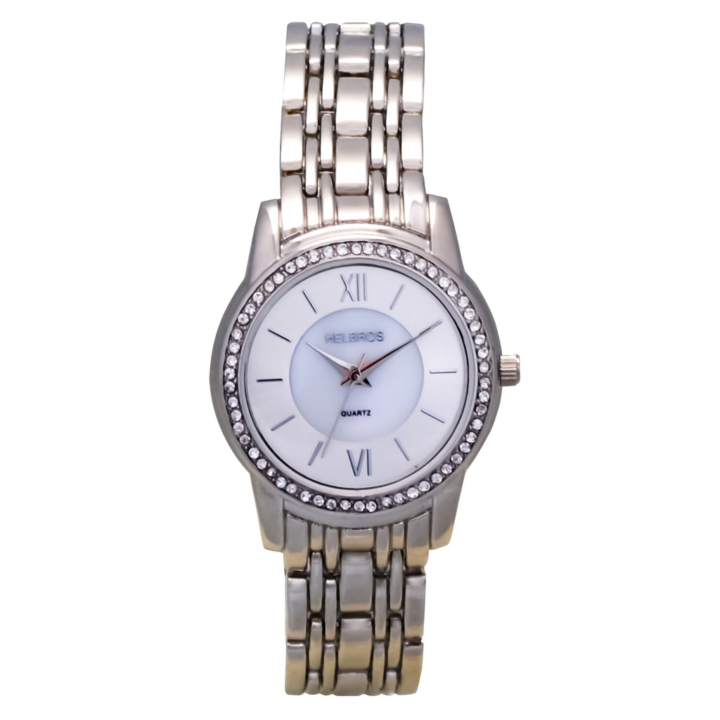 Ladies  Silvertone Quartz Watch with Crystal Bezel and Mother of Pearl Dial