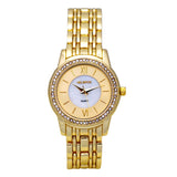 Ladies  Goldtone Quartz Watch with Crystal Bezel and Mother of Pearl Dial