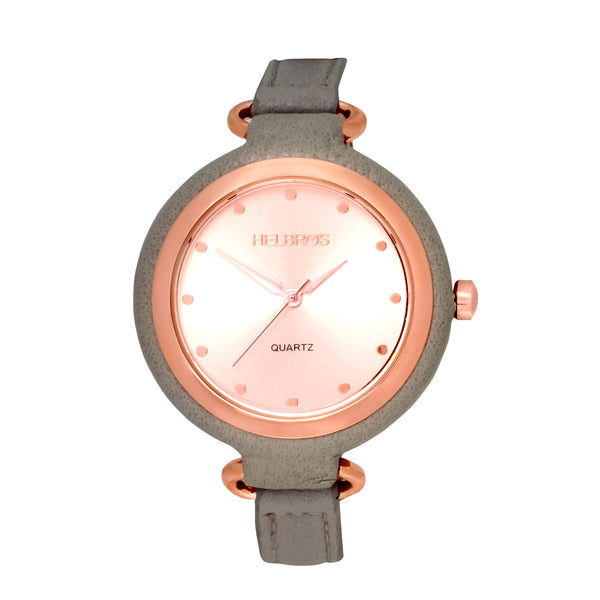 Ladies Rosetone Quartz Watch with Grey Strap and Coordinating Case