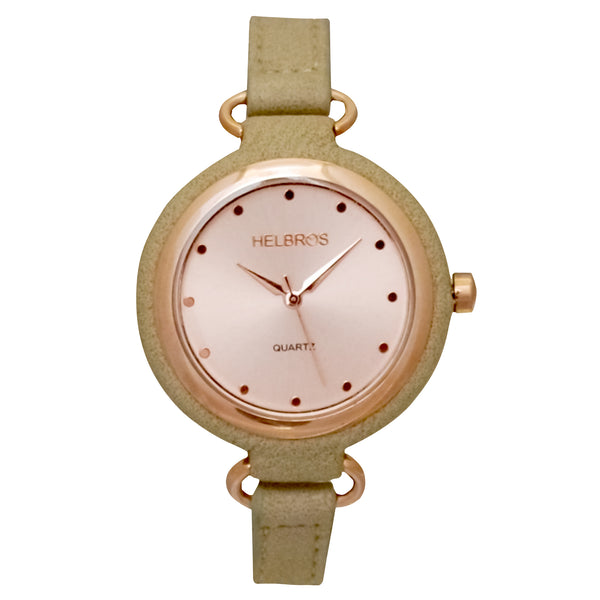 Ladies Rosetone Quartz Watch with Bone Strap and Coordinating Case