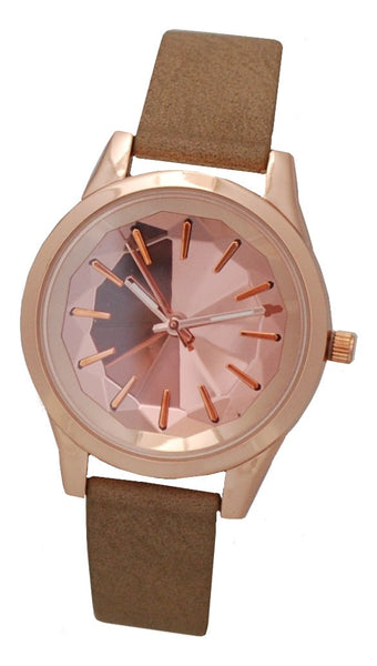 Ladies Rosetone Quartz Watch with Faceted Mirrored Dial & Taupe Strap