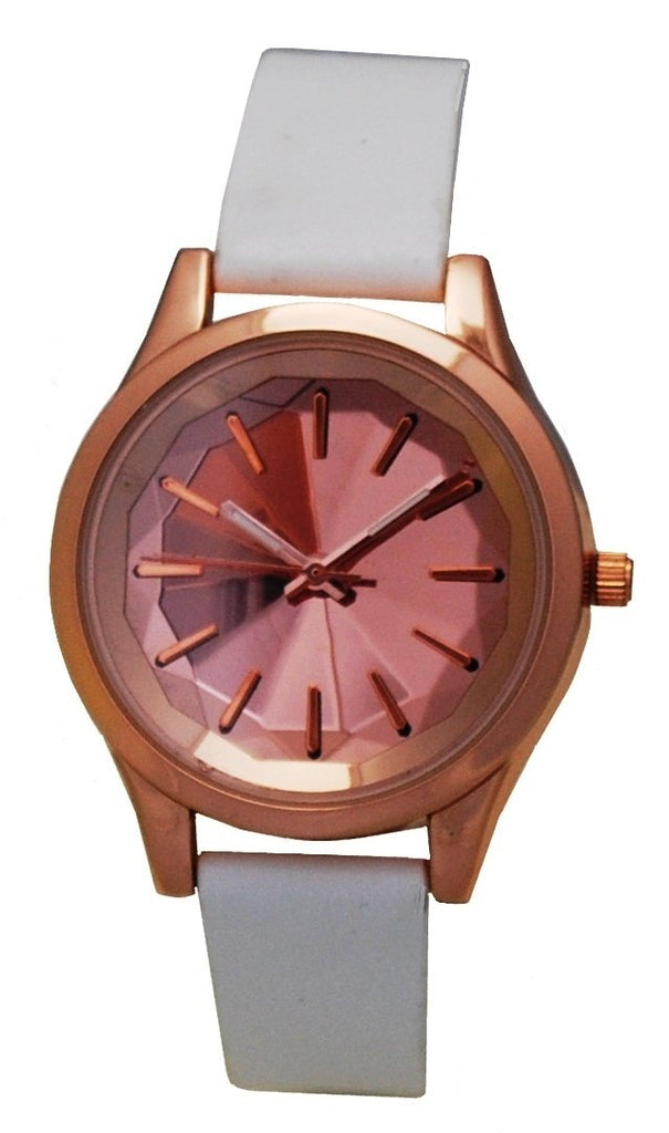 Ladies Rosetone Quartz Watch with Faceted Mirrored Dial & White Strap - CROTON GROUP