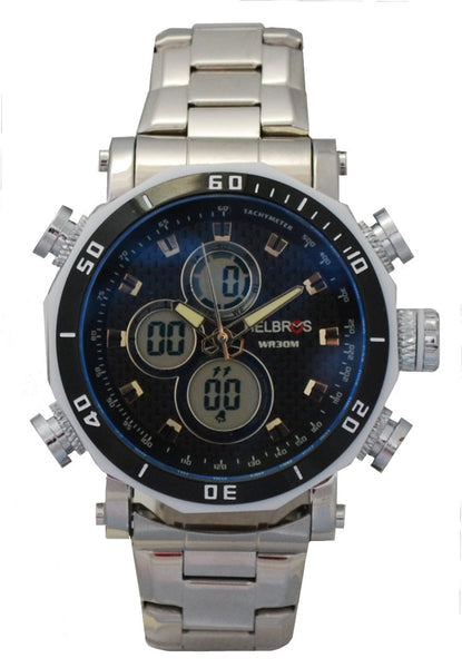 Men's Ana-Digi Chronograph Watch with Stainless Steel Bracelet & Black Carbon Fiber Dial