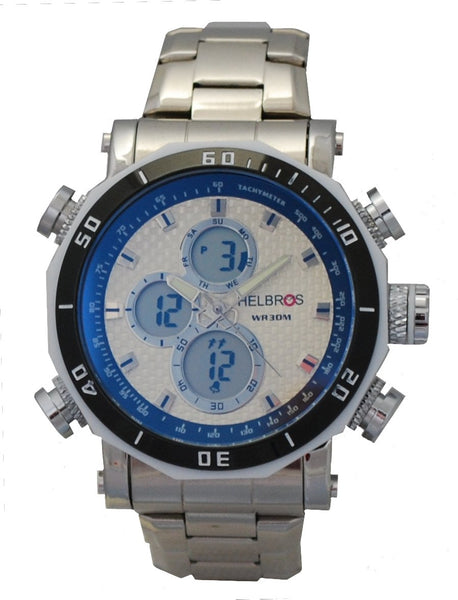 Men's Ana-Digi Chronograph Watch with Stainless Steel Bracelet & Pineapple Carbon Fiber Dial