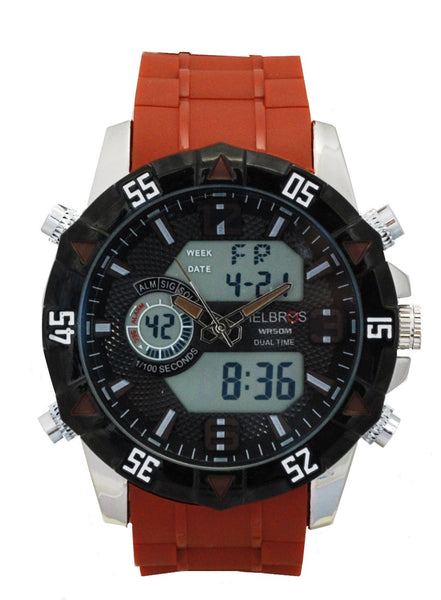 Men's Ana-Digi Chronograph Watch with Brown Silicone Strap