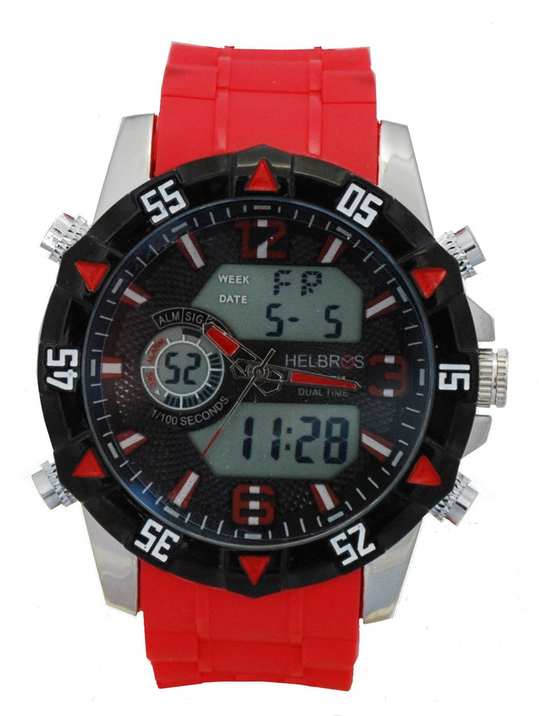 Men's Ana-Digi Chronograph Watch with Red Silicone Strap