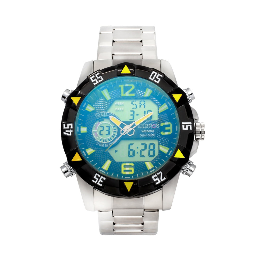Men's Ana-Digi Chronograph Watch with Black & Yellow Bezel - CROTON GROUP