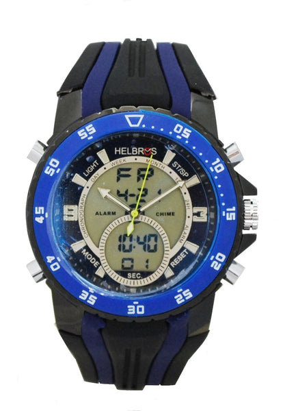 Men's Ana-Digi Chronograph Watch with Blue & White Bezel & Black & Blue Silicon Strap