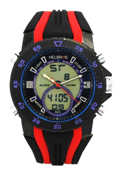 Men's Ana-Digi Chronograph Watch with Black & Purple Bezel & Black & Red Silicon Strap