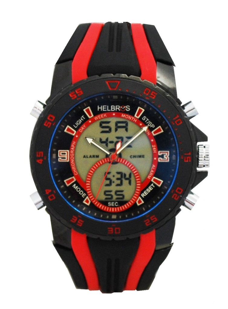 Men's Ana-Digi Chronograph Watch with Black & Red Bezel & Black & Red Silicon Strap