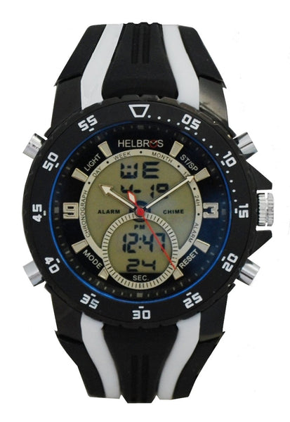 Men's Ana-Digi Chronograph Watch with Black & White Bezel & Black & White Silicon Strap