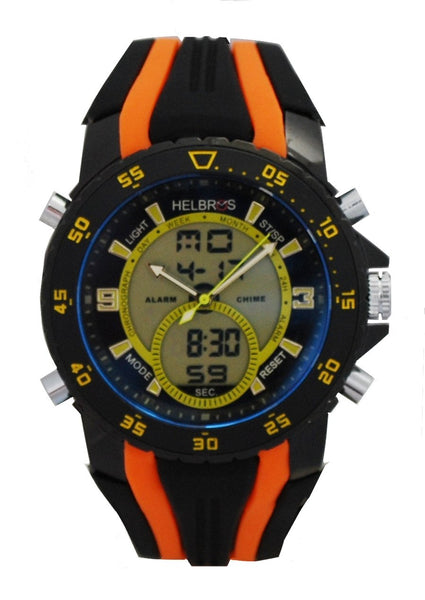 Men's Ana-Digi Chronograph Watch with Orange & Black Silicone Strap