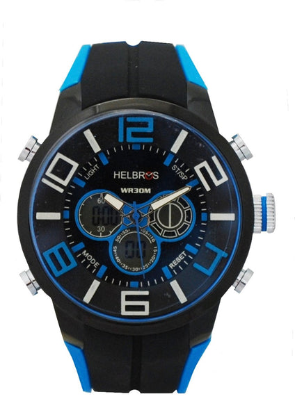 Men's Black & Blue Ana-Digi Chronograph Watch with Coordinating Silicone Strap