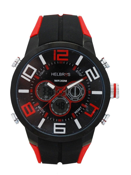 Men's Red & Black Ana-Digi Chronograph Watch with Coordinating Silicone Strap