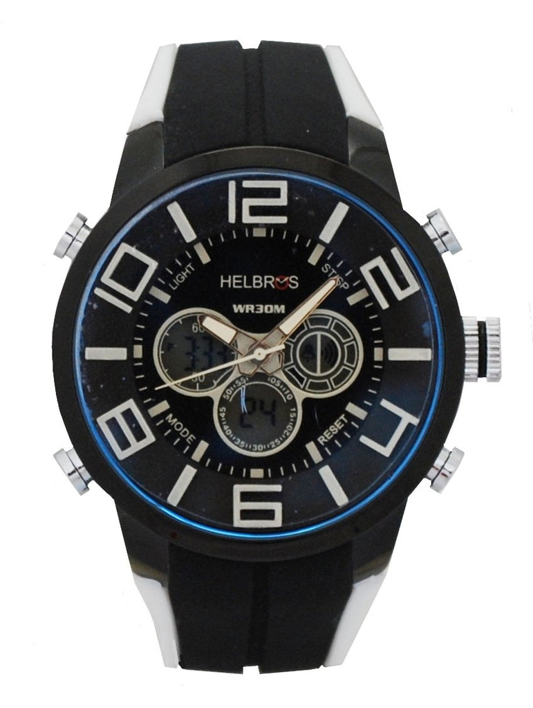 Men's Black & White Ana-Digi Chronograph Watch with Coordinated Silicone Strap