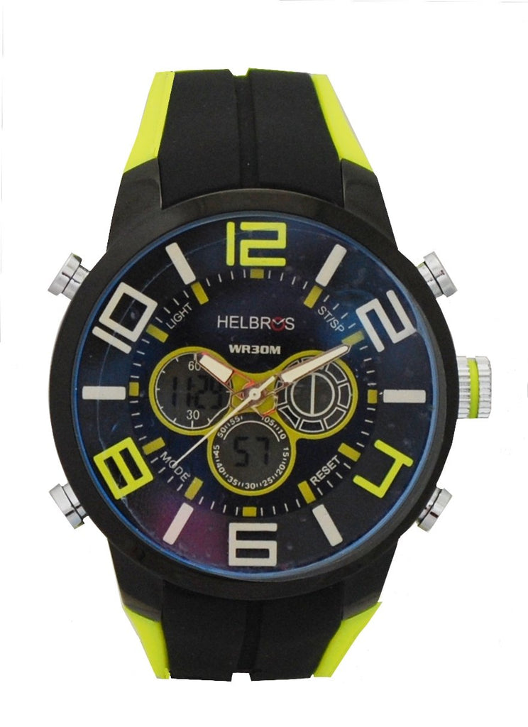 Men's Black & Yellow Ana-Digi Chronograph Watch with Coordinated Silicone Strap